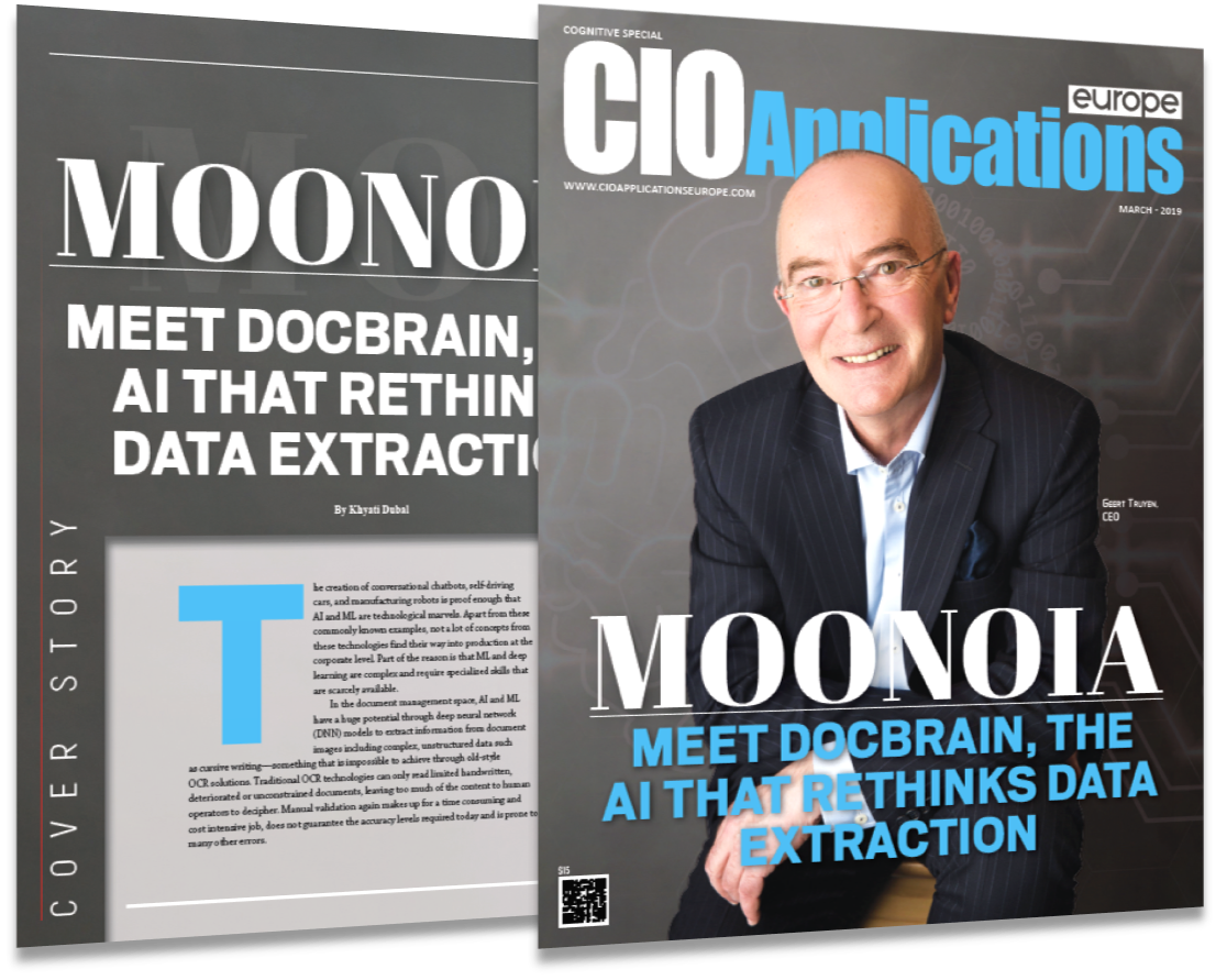 Moonoia Recognized in CIO Applications Europe List of Top 10 Cognitive Services Companies