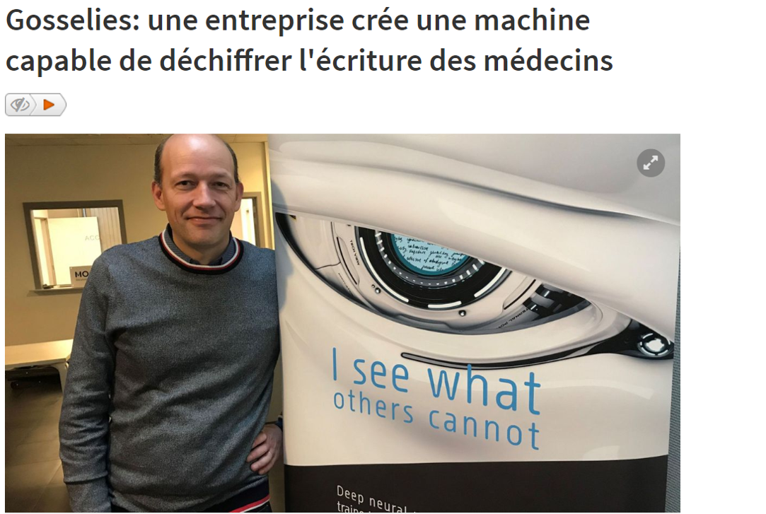 In the news: RTBF - 'Company creates an engine that reads doctors' handwriting'